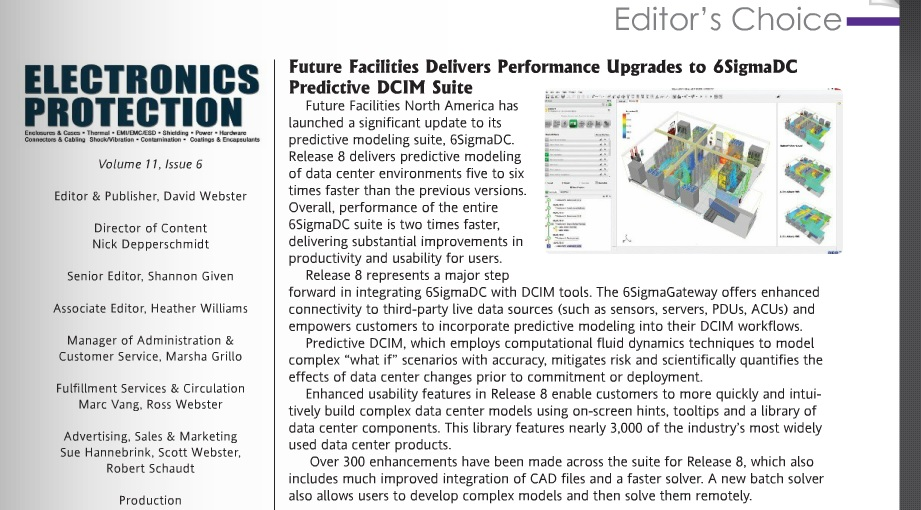 "Future Facilities Named ""Editor's Choice"" by Electronics Protection Magazine"