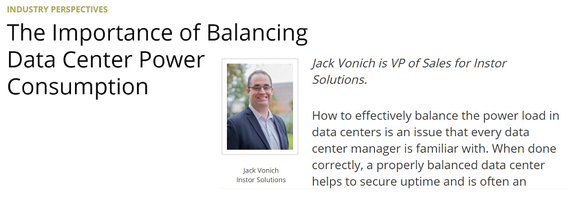 Jack Vonich of Instor Solutions is Featured in Data Center Knowledge's Industry Perspectives