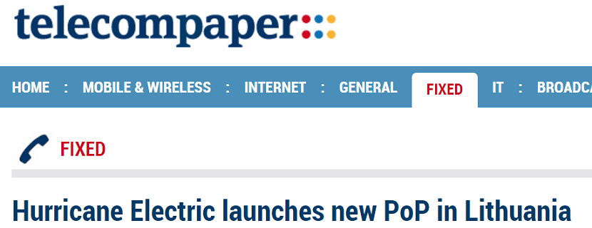 Telecompaper Writes Up Hurricane Electric's Newest PoP in Lithuania