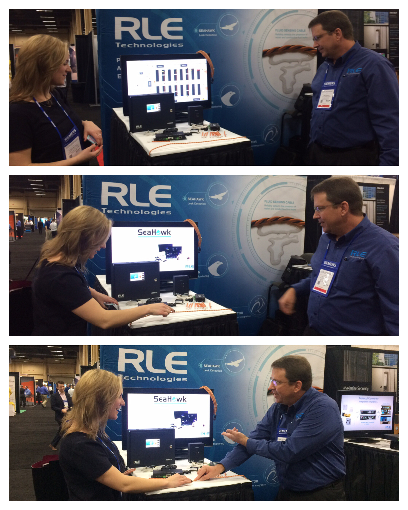 While at the booth, Caroline was treated to a demo on leak detection!