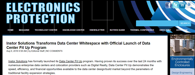 Electronics Protection Magazine Features Piece on the Launch of Instor's new Data Center Fit Up Program