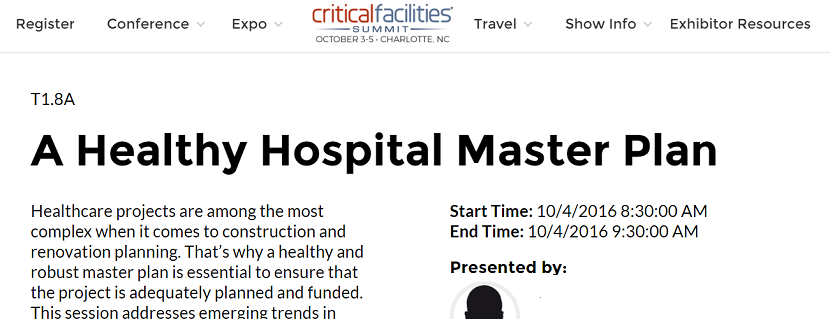 2016 Critical Facilities Summit to Feature Healthcare, Reports Mission Critical Magazine
